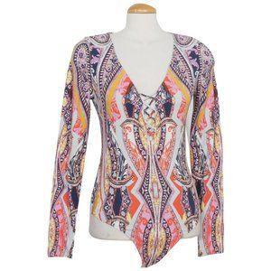 Pick A Place Stretch Cotton Paisley Bodysuit L
